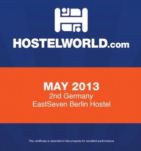 Hostelworld Award May 2013